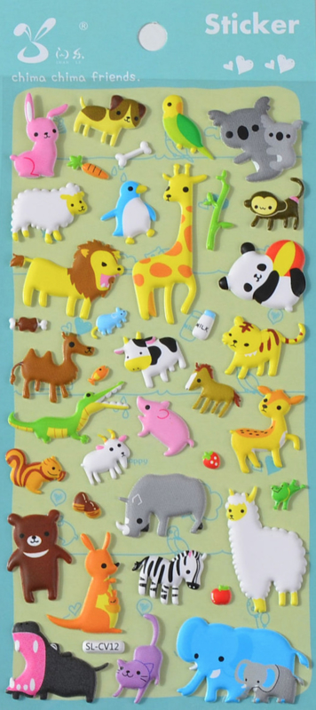 Stickersheet puffy big animals (5 PCS)
