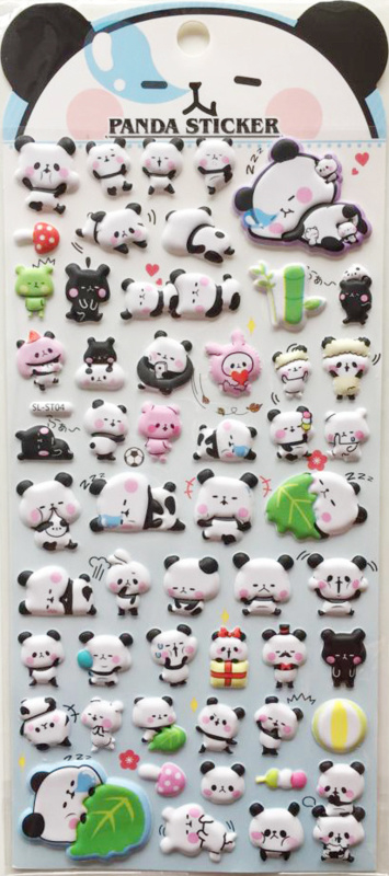 Stickersheet puffy mochi panda (5 PCS)