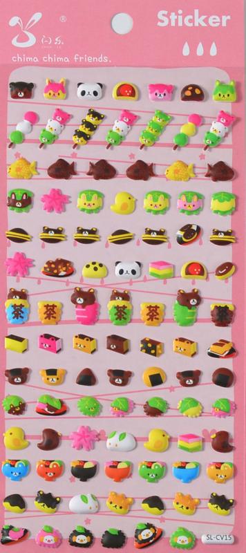 NL - Stickersheet puffy Japan sweets (5 PCS)