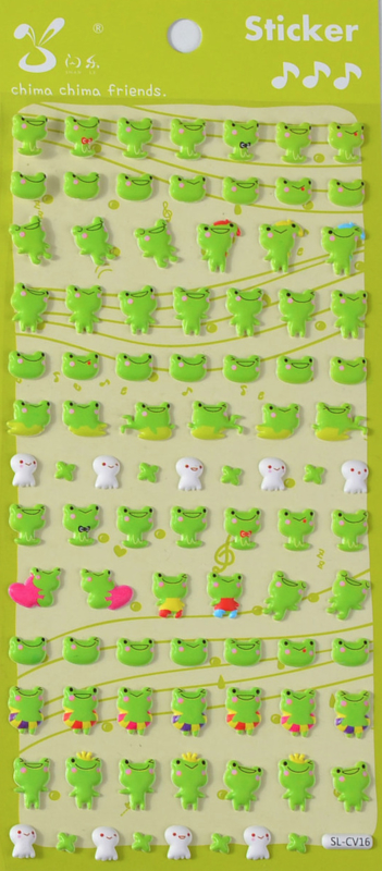 EU - Stickersheet puffy happy frog (5 PCS)