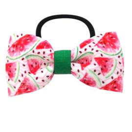 Elastiek met strik watermeloen roze groen