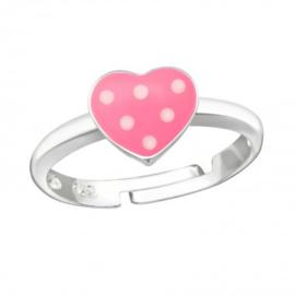 Zilveren kinderring hartje roze met stippen