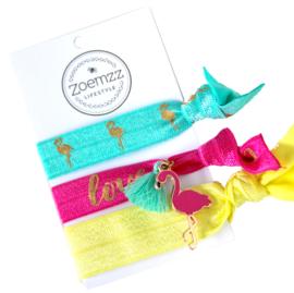 Ibiza elastiek/armband flamingo love