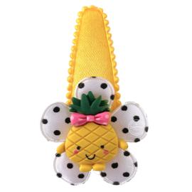 Haarspeld met ananas geel/zwart/wit