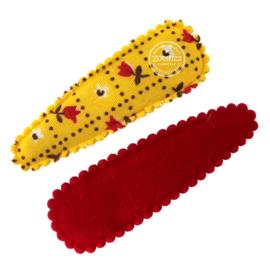 Haarspeldjes  najaar okergeel met rood