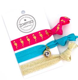 Ibiza elastiek/armband flamingo gold