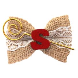 Haarstrik jute Sinterklaas met letter