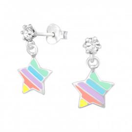 Kinderoorbellen zilver sterren hangers kristal