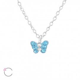 Kinderoorbellen zilver hoops vlinder