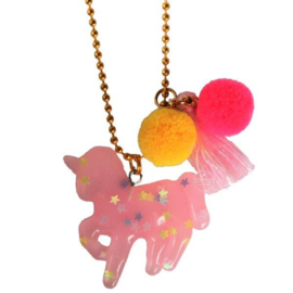Kinderketting met unicorn roze sterren