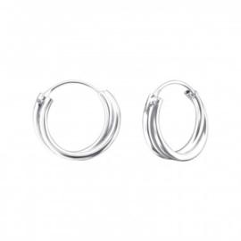 Zilveren creolen dubbele ringetjes