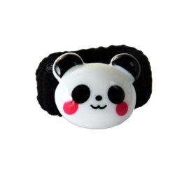 Badstof elastiek panda zwart