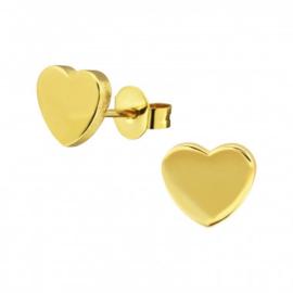 Kinderoorbellen chirurgisch staal hartjes gold plated