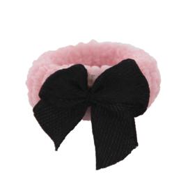 Badstof elastiek strikje zwart/roze