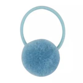 Pompom elastiek lichtblauw