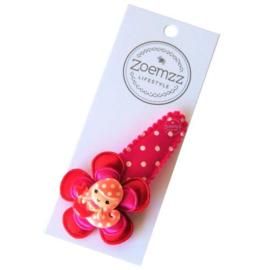 Haarspeld zeemeermin rood/roze