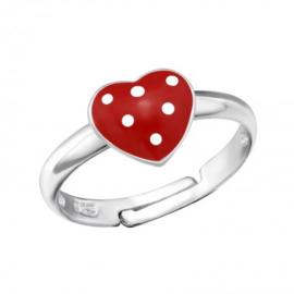 Zilveren kinderring hartje rood met stippen