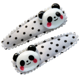 Haarspeldjes met panda wit/zwart