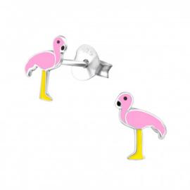 Kinderoorbellen zilver flamingo