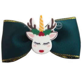 Haarstrik donkergroen unicorn kerst