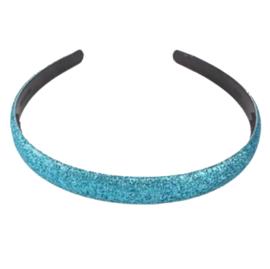Diadeem met glitters aquablauw