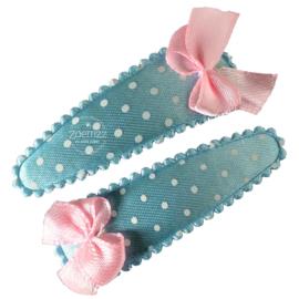 Haarspeldjes met strikje lichtblauw