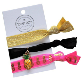 Ibiza elastiek/armband golden pineapple