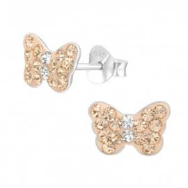 Kinderoorbellen vlinder met steentjes champagne