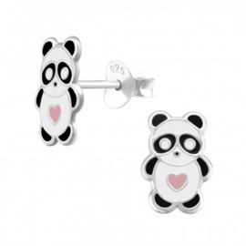 Kinderoorbellen zilver panda met hartje