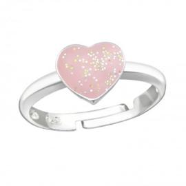 Zilveren kinderring hartje roze met glitters