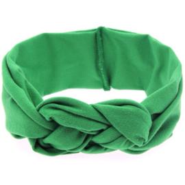 Vlechthaarband effen groen