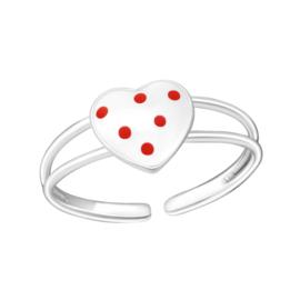 Zilveren kinderring hartje met rode stippen