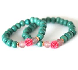 Moeder-dochter set groen/roze
