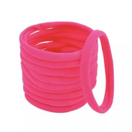Basis haarelastiek neon roze