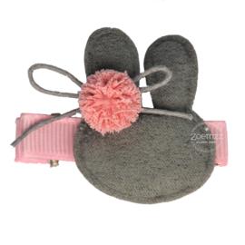 Haarlokspeld pasen konijn roze/grijs