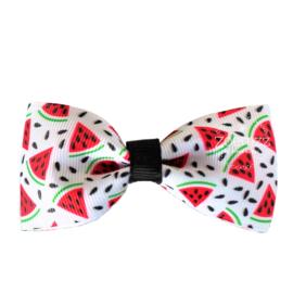 Haarlokspeld met strik watermeloen wit