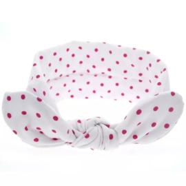 Knoop - wrap haarband wit met stippen