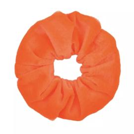 Scrunchie velvet neon oranje