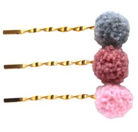 Haarschuifjes goudkleur met pompom grijs bobby pin