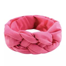 Vlechthaarband effen roze