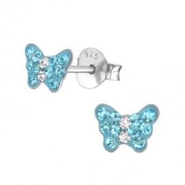 Kinderoorbellen vlinder met steentjes blauw