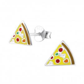 Kinderoorbellen zilver pizza