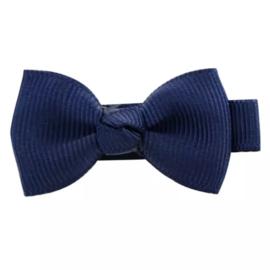 Haarlokspeld met strik donkerblauw 4 cm