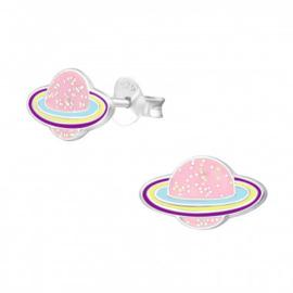 Zilveren kinderoorbellen planeet roze