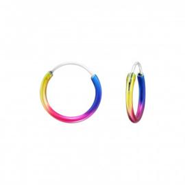 Zilveren creolen ringetjes regenboog