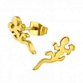 Kinderoorbellen chirurgisch staal hagedis gold plated