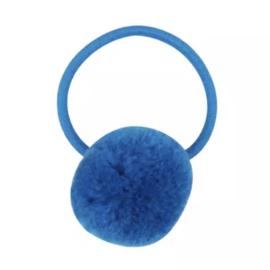 Pompom elastiek blauw