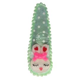 Haarspeldje met konijntje mint