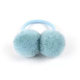 Pompom elastiekje blauw