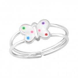 Zilveren kinderring verstelbaar vlinder wit